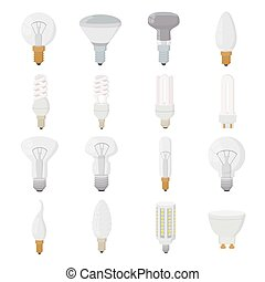 Light bulb icons set, cartoon style - Light bulb icons set...