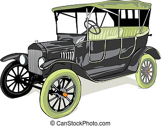 vector isolated old funny colored car - fully editable...