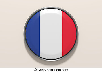 Button with French flag - 3d rendering pf french button on...