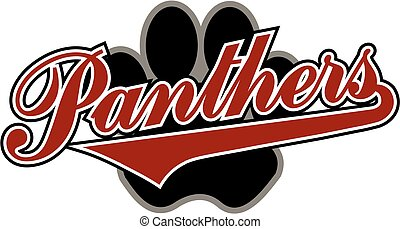 panthers with paw print - panthers team design in script...