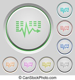 Music waves push buttons - Set of color music waves sunk...