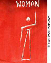 Primitive woman toilet sign - Primitive woman toilet sign...