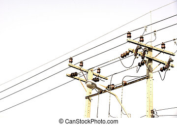 Electricity power lines - electricity post, chaotic wire on...