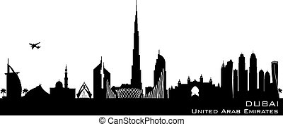 Dubai UAE city skyline vector silhouette