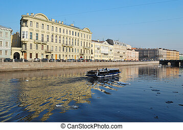 Fontanka river in Saint-Petersbur - Saint-Petersburg, Russia...