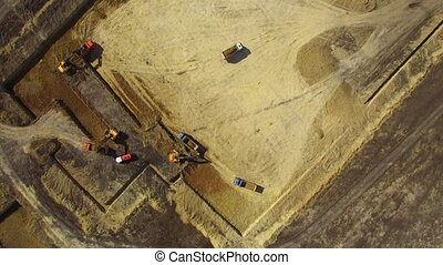 Machines Working On Construction Site - AERIAL VIEW Shot...