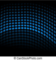 Blue Halftone Wave - Blue halftone wave on a black...
