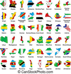 african flags in map shape with details - vector editable...