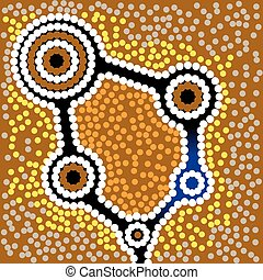 Aboriginal art vector background - Australia Aboriginal art...