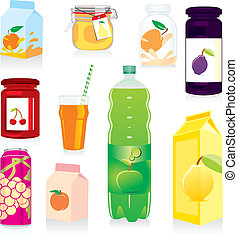 isolated fruit containers - fully editable vector...