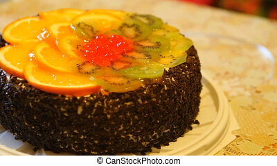 cake with fruit on the table HD