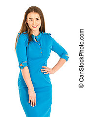 Air hostess in blue uniform. Isolated on white.