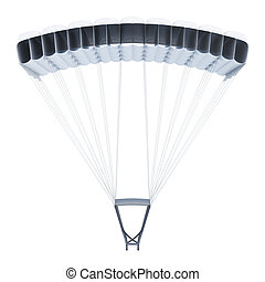 Frontal image of a parachute on white background. 3d rendering