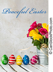 Flower and colorful eggs - must be Easter!