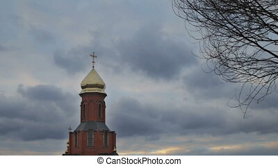 Orthodox church against the sky with clouds - Orthodox...