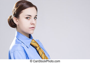 Sensual Caucasian Brunette Business Woman in in Official...