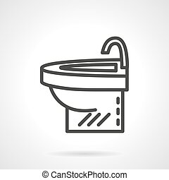 Simple washstand black line design vector icon - Bathroom...