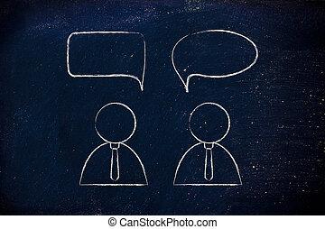 businessmen conversation dialogue with comic bubble -...