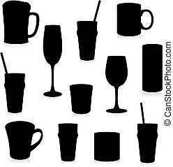 glasses and mugs silhouette - fully editable vector...