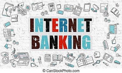 Internet Banking in Multicolor. Doodle Design. - Internet...