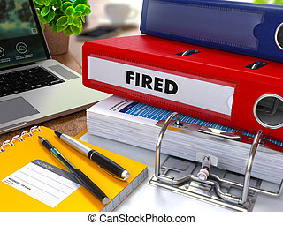 Red Ring Binder with Inscription Fired. - Red Ring Binder...