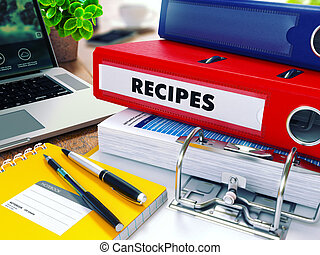 Recipes on Red Ring Binder Blurred, Toned Image - Recipes -...
