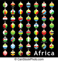 african flags in christmas bulbs - fully editable isolated...