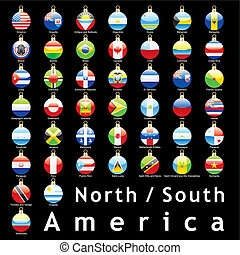 american flags christmas bulbs - fully editable isolated...
