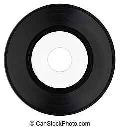 Vinyl record with white label - Vinyl record vintage analog...