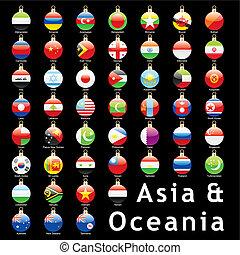 asian flags christmas bulbs - fully editable isolated asian...