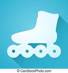 blue roller skate flat icon - Creative design of blue roller...