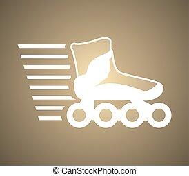 golden roller skate symbol - Creative design of golden...