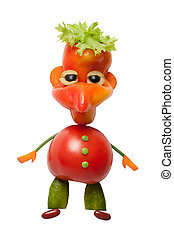 Amusing hobbit made of vegetables on isolated background
