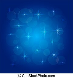 Vector picture of the bokeh effect with stars on a blue...