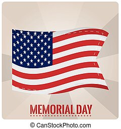 Memorial day - Striped background with the american flag and...