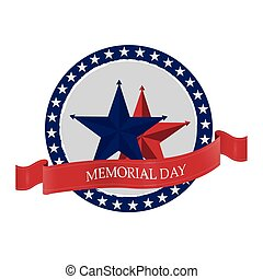 Memorial day - Isolated banner with a pair of stars and a...