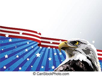 kahl, adler, amerikanische, Fahne