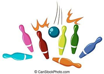 Bowling pins and ball illustration