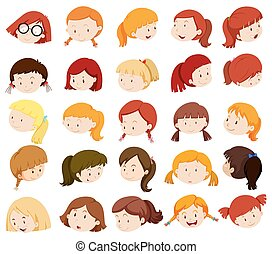 Girl heads with facial expressions illustration