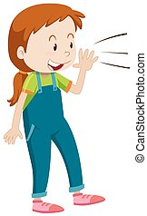 Girl with happy face shouting illustration