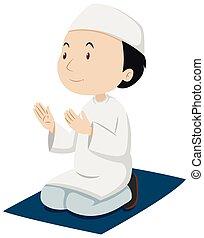 Muslim man praying on the mat