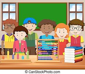 Klassenzimmer, glücklich, Kinder, Gesicht