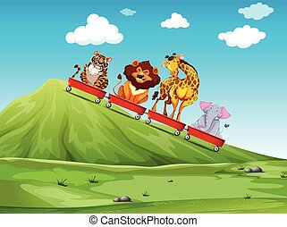 Wild animal riding on red wagon