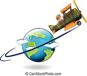 Girl flying aeroplane around the world illustration