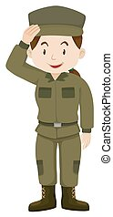 Female soldier in green uniform illustration
