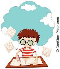 Boy doing homework on the desk illustration