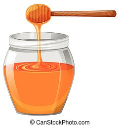 Honey in glass jar illustration
