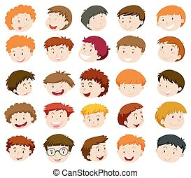 Boys head with happy face illustration