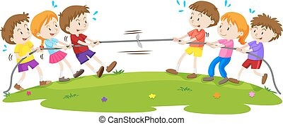 Kids playing tug of war at the park illustration