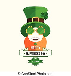 Happy St. Patricks Day Isolated cartoon character Irishman...